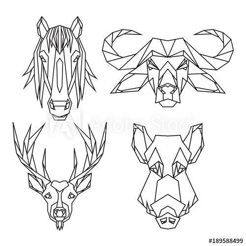 Geometrische Vektor Tier Satz von Bull, Hirsch, Pferd und Wildschwein Vektor Köpfe gezeichnet …
