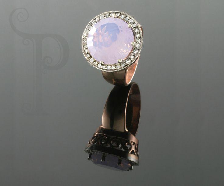 Handmade 18ct Yellow Gold, Dress Ring Set With a Round Rose Quartz and Round Brilliant Cut Diamonds