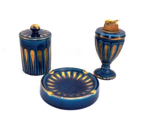 Vintage Italian Ceramic Smoker Set Lighter, Dresser Set, Holder & Ashtray Blue with Gold Guilding