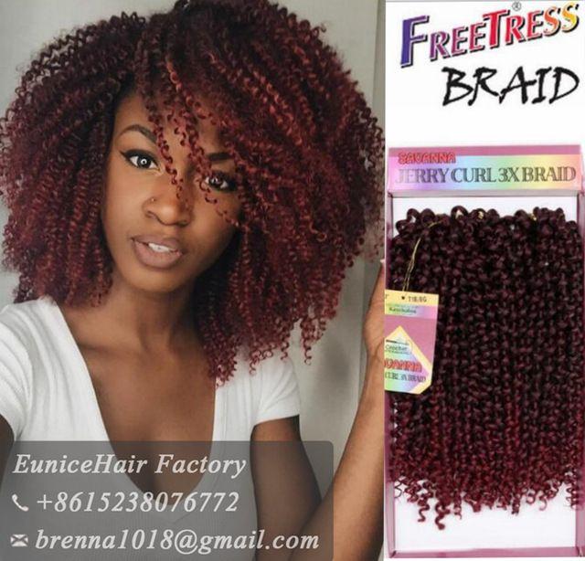 2017 novos penteados Pré Laço Jerry Onda Tranças Trança para As Mulheres Negras de Cabelo Sintético Tranças De Crochê Bahamas Onda extensão do cabelo
