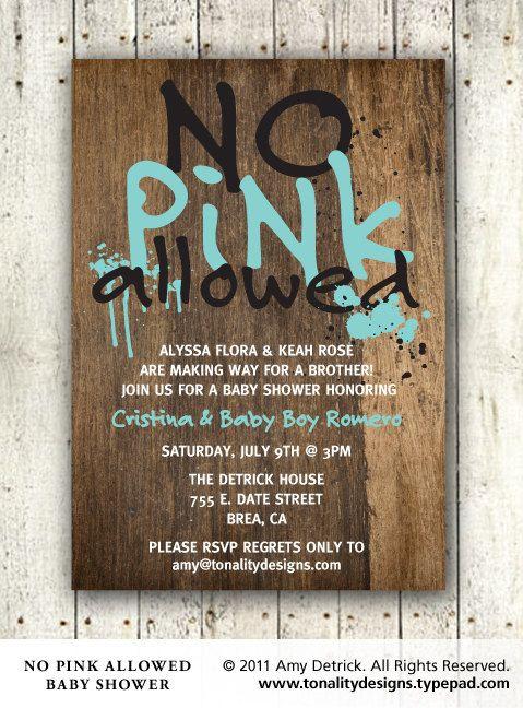 Cute Baby Boy Baby Shower Invitation: No Pink Allowed (DIY Printable PDF Invite). $15.00, via Etsy.