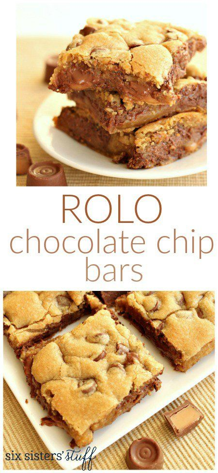 Rolo Chocolate Chip Bars from SixSistersStuff.com | These gooey and chewy bars are perfect for any party, family get together or dessert night!
