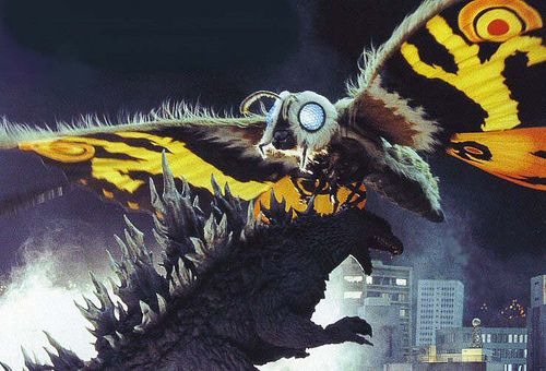 Mothra once again defends Japan from Godzilla in TOKYO SOS (2003).