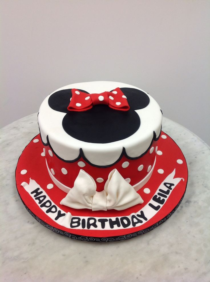 Red And White Minnie Mouse Cake