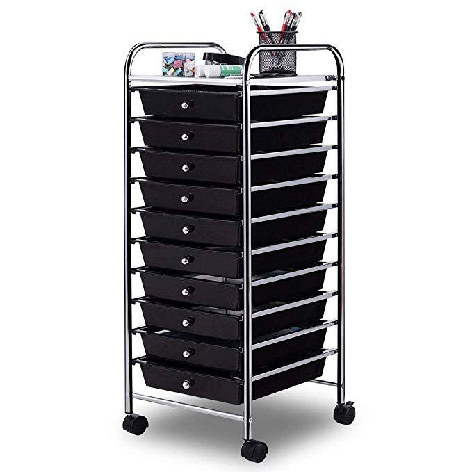Amazon Com Giantex 10 Drawer Rolling Storage Cart Scrapbook