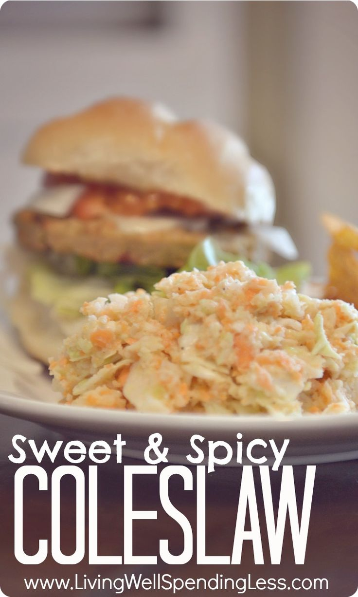 Sweet & Spicy Coleslaw Recipe.  The BEST homemade coleslaw recipe EVER!  Sweet but not too sweet, a little creamy, a little tangy, and a little kick for good measure!  YUM! #recipe #coleslaw