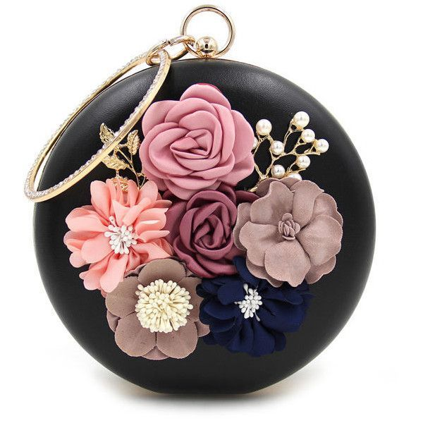 Rhinestone Decorative Flower Two Way Faux Pearl Clutch ($44) ❤ liked on Polyvore featuring bags, handbags, clutches, rhinestone handbags, rhinestone clutches, flower purse, flower handbags and rhinestone purses