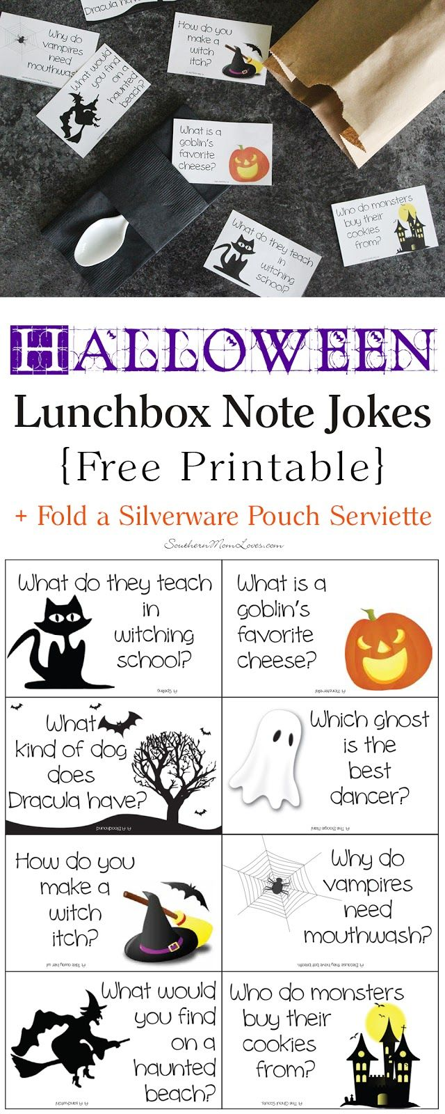 Today I've got a super-fun (and free) printable for you: Halloween Lunchbox Note Jokes! These are kid-friendly jokes that you can put in your child's lunchbox to give them a giggle during their day. I'll also show you how to fold a silverware pouch serviette that will fit their utensils and you can also tuck their note into so it doesn't get lost in the bottom of their lunchbox.