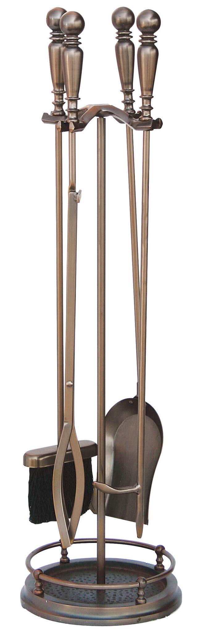 5 Pc Venetian Bronze Fireset W/ Ball Handles