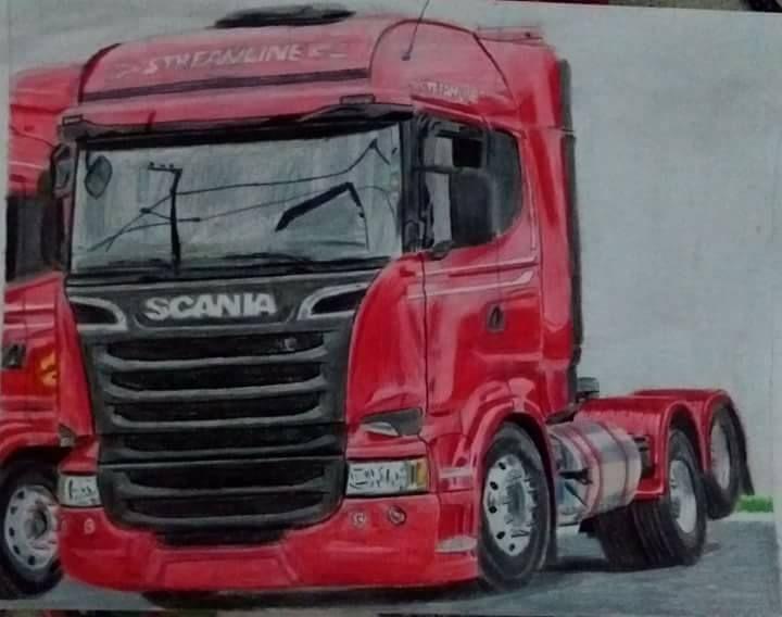 Desenho Caminhao Scania Vermelha Desenhista Daniel Assis Deboa
