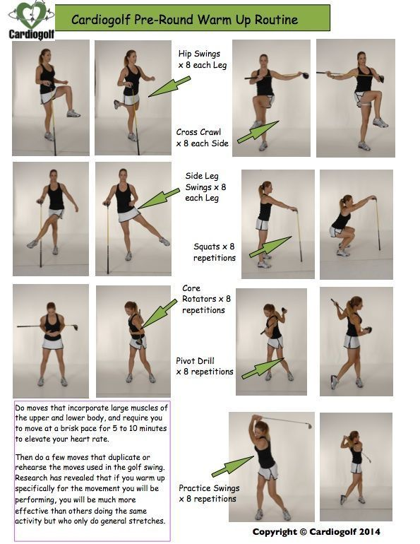 Cardiogolf Pre Round Warm Up Routine To Learn How To Do These And Other Golf Specific Exercises Visit Kpjgolf Golf Exercises Strength Golf Tips Golf Exercises