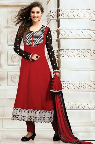 USD 53.07 Red Faux Georgette Resham Work Party Wear Salwar Suit 29925