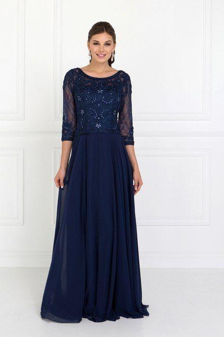 aa6c340b80aa5b Elizabeth K GL1580 Chiffon Illusion Sweetheart A-Line Long Dress with Long  Sleeves - EKGL1580