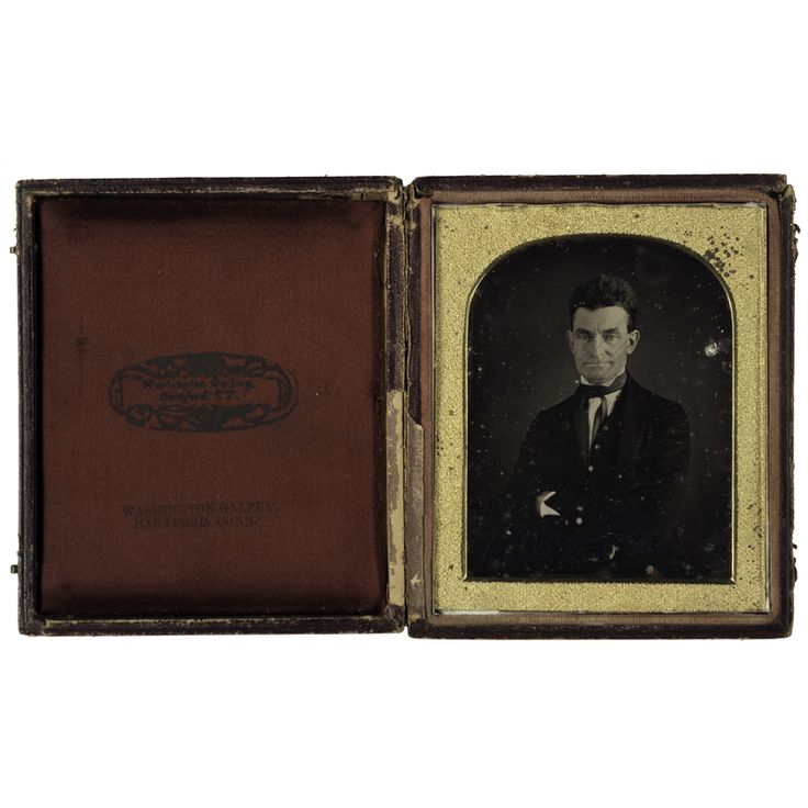 Important Long-Lost  Quarter Plate Daguerreotype of John Brown, the Abolitionist, by the African American Daguerreotype Artist, August Washington, taken at Washington's Hartford, CT, studio c. 1846-47.