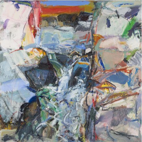 Culter Burn by Duncan Shanks Dated '77, '88, '90 at each point the picture was re-worked, oil on canvas 124.5in x 124.5in (49in x 49in)