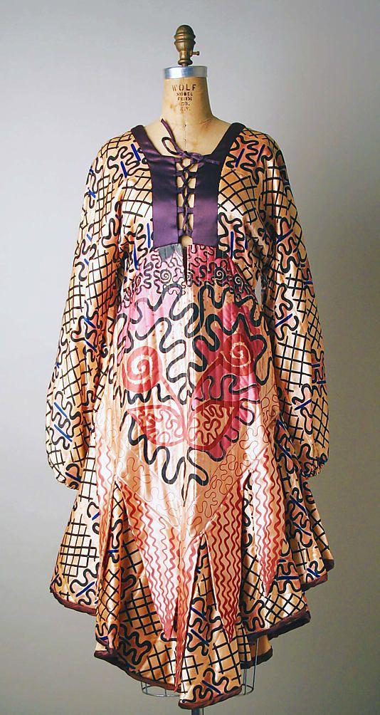 Dress  Zandra Rhodes (British, born 1940)  Department Store: Henri Bendel (American, founded 1895) Date: 1969–70 Culture: British.  Credit Line: Gift of Muriel Kallis Newman, 1987!!!