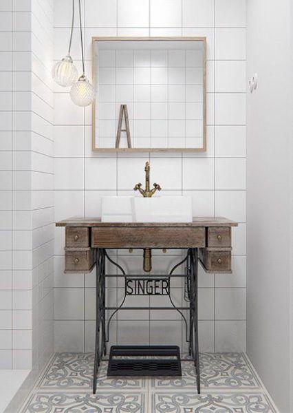 idées pour détourner un pied de machine à coudre - soul inside - sewing machine- lavabo bathroom