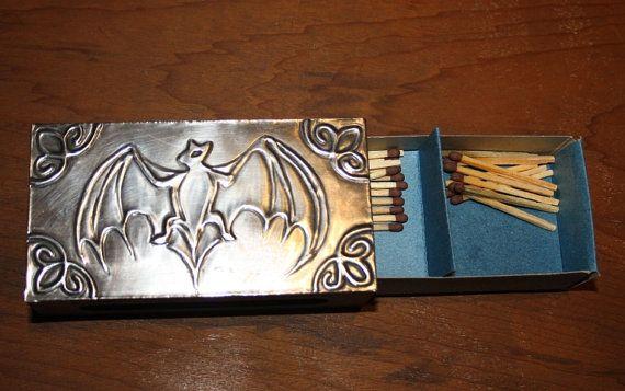 Vampire Bat Pewter Matchbox Holder Wood Wiccan Pagan Halloween Samhain Candle light Fire