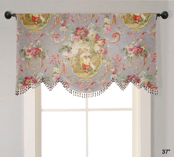 richloom fragonard lilac purple scalloped julia valance purple toile valance curtain