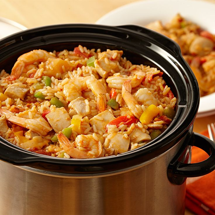 Want jambalaya tonight but don't have the time? Let your slow cooker do the work. Just put Zatarain's Jambalaya Mix, chicken, shrimp, tomatoes and frozen peppers and onions in the slow cooker, and you'll have a delicious meal for the whole family when you get home.
