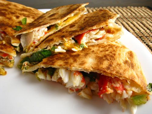 CRAB QUESADILLAS:  The warm crispy tortilla and the melted cheese put it over the top.  You can serve the crab quesadillas with salsa, sour cream, avacado, etc.