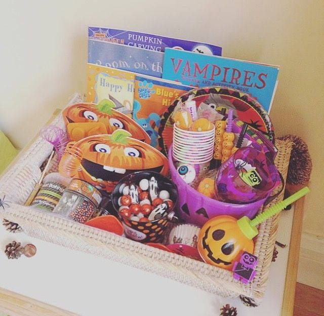 Halloween activity box - Themed things to do over half term Pumpkin carving kit   Themed books   Pumpkin tub   Partyware   Baking kit   Treats