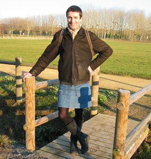 Classic denim mini skirt with tights...guy's it's fine.... not to worry. Enjoy the comfort!