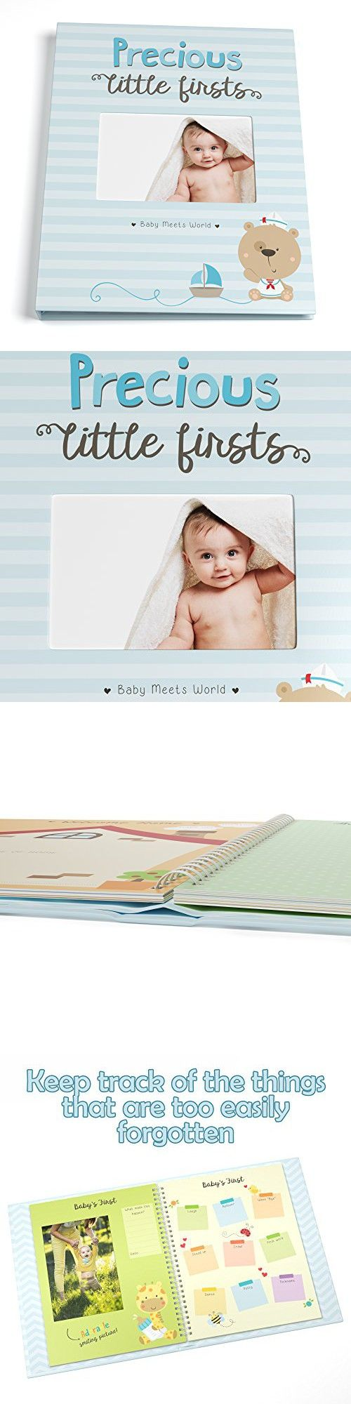 Baby Memory Book for Boys First Five Years, Record Your Child's Development in a Keepsake Journal, Modern Photo Album and Baby Shower Guestbook, 9 x 11.5 Inches