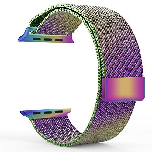 cool Apple Watch Band, with Unique Magnet Lock, MoKo Milanese Loop Stainless Steel Bracelet Smart Watch Strap for iWatch 42mm All Models, No Buckle Needed - Colorful (Not Fit iWatch 38mm Version 2015)