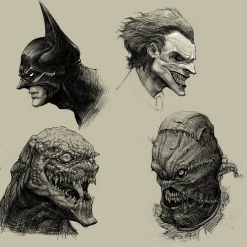 Batman, The Joker, Killer Croc, The Scarecrow