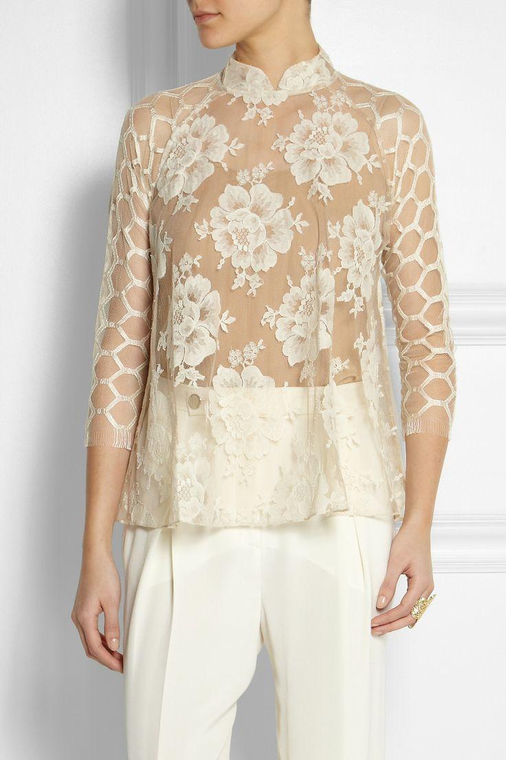 Biyan | Semolina lace blouse | NET-A-PORTER.COM