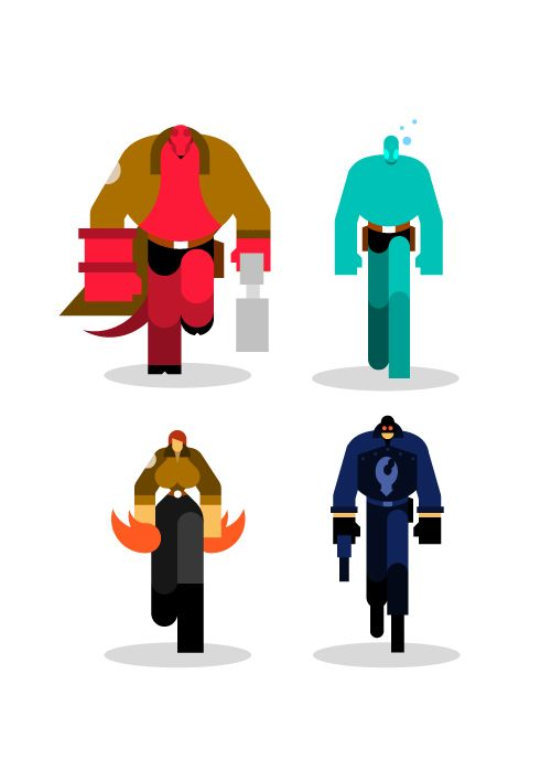 Hellboy, Marvel ,DC & CO ultra light by Bunka, via Behance