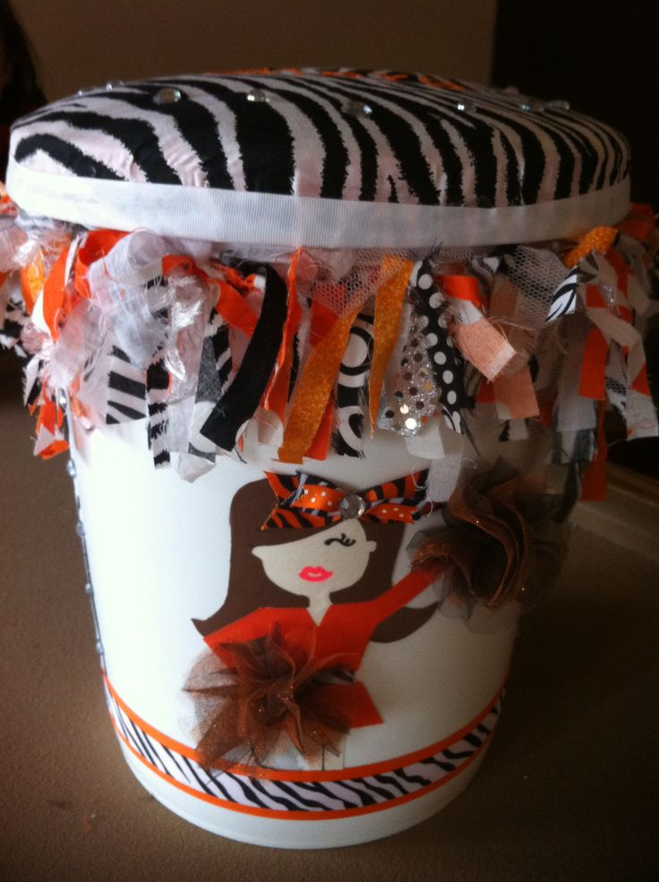 Cheer bucket I made. Lid was made by another cheer mother:)