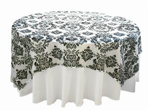 """$5.99 for a 60"""" round overlay at www.tableclothsfactory.com. I am placing an order for spandex linens, let me know if you want to add to my order and we'll save on shipping."""