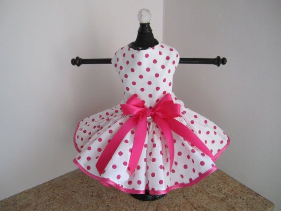 Dog Dress XS White with Hot Pink Polkadots by NinasCoutureCloset