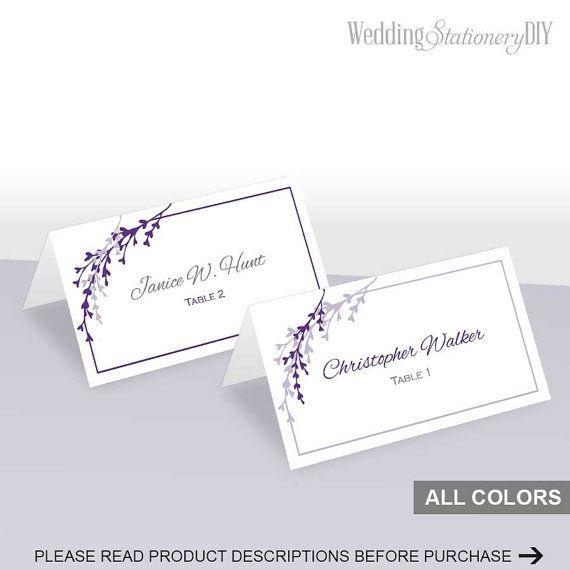 Purple wedding place cards printable Name by WeddingstationeryDIY