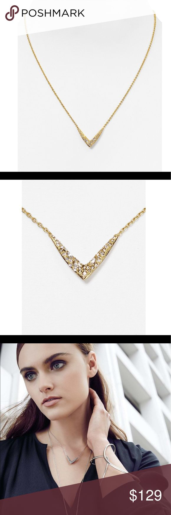 """Alexis Bittar Miss Havisham necklace Glittering round and marquise-cut crystals lend chic shine to a V-shaped pendant necklace that adds modern, angular interest to your look. 15 1/2"""" length; 3"""" extender; 3/4"""" drop. Lobster clasp closure. 10K gold plate/glass/Swarovski crystal. Alexis Bittar Jewelry Necklaces"""