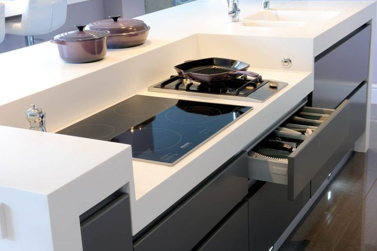 The island in the centre of this kitchen has a recessed induction hob for easy access.