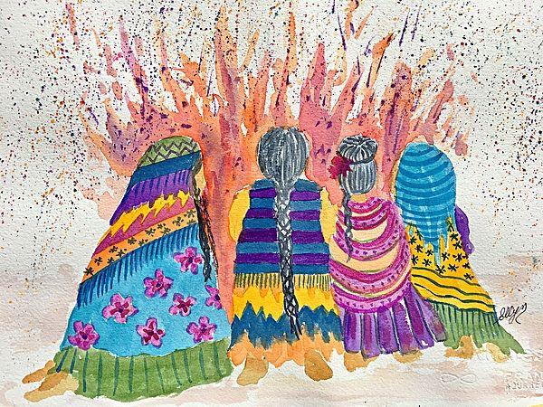 Earth Mothers - Feeding  The Fire by Ellen Levinson kK