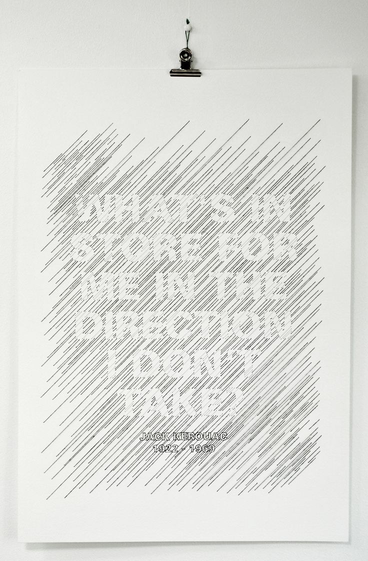 Typographic stitched illustration of a Jack Kerouac quote by Peter Crawley