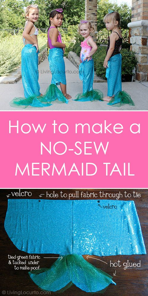 How to Make a No Sew Mermaid Tails for a Mermaid Party. Easy DIY idea for party favors and Little Mermaid girls. Craft tutorial by @livinglocurto