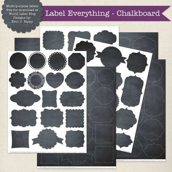 24 best Chalkboard labels and templates, DIY also! images on - label templates free
