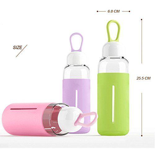 Just Life Bpa-freien Sport Trinkflasche Glas Glasflasche Bottle mit Silikonhülle und Handle 420ML(Cyan)