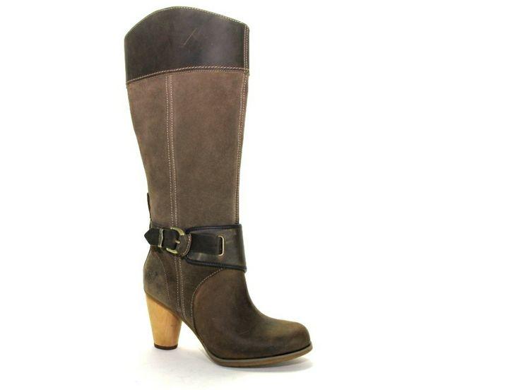 Taupe bruin kleurige Timberland laarzen met hakje €199,95 #timberland #laarzen