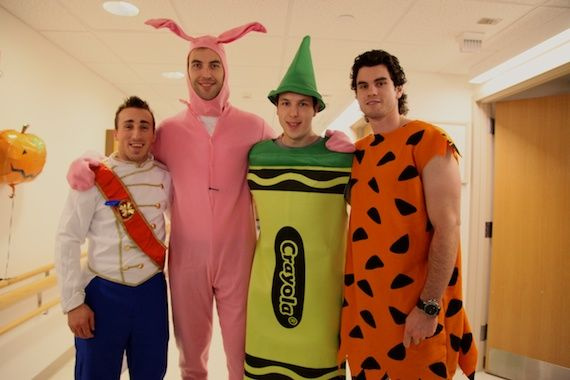 Bruins dress in costume to visit kids in the hospital. Love seeing pro athletes do stuff for kids.