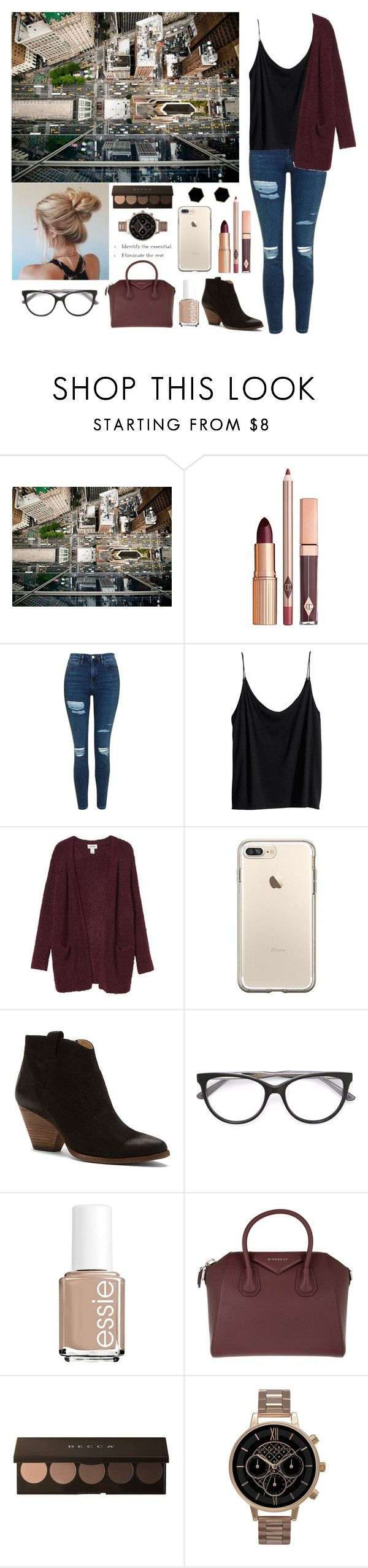 """""""Comment 😊 to be added to my tag list"""" by aeltz ❤ liked on Polyvore featuring National Geographic Home, Topshop, H&M, Monki, Frye, Essie, Givenchy, Olivia Burton and Janna Conner Designs"""