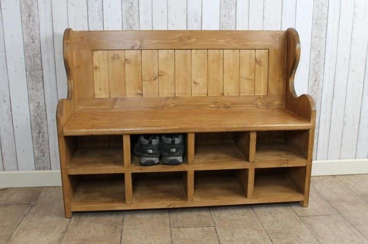 3FT HANDMADE PINE SETTLE WITH SHOE STORAGE COMPARTMENTS RUSTIC WAXED