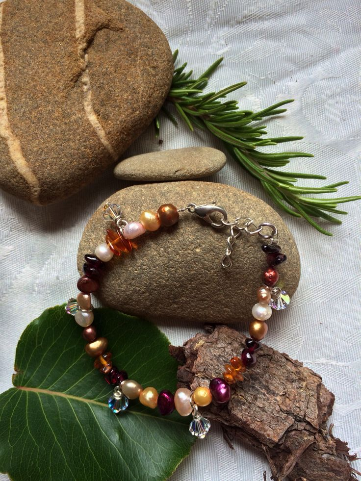 Coloured pearl, garnet, amber and Swarovski bracelet #design #unique #jewellery #handmade #GGJewellery