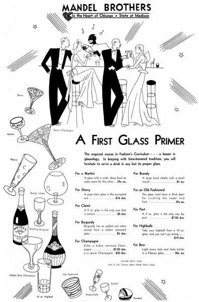 Happy Repeal Day! 83 years ago today, Americans celebrated the ability to drink legally after the repeal of prohibition.  Mandel Brothers Department Store was at the ready with an ad showcasing the proper glassware to buy, 1933, Chicago