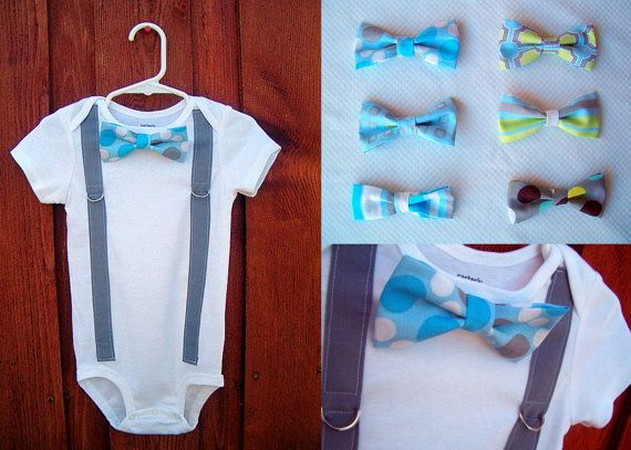 Boy Bowtie & Suspender Onesie or shirt  Blue and by shopantsypants: Dresses Up, Cute Boys, Boys Bowties, Bowties Suspenders, Baby Bows Ties, Baby Onesie, Shirts Blue, Baby Bowties, Suspenders Onesie